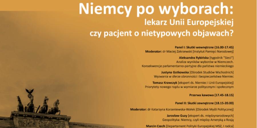 Wydarzenie: Konferencja Niemcy po wyborach w RODM Kraków [PATRONAT GEOPOLITI.ORG]